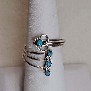 AdjustableTurquoise Ring with Heart and 3 Circles